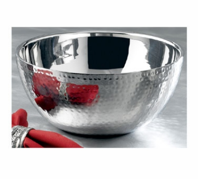 Bon Chef 61260 3-qt Double Wall Bowl, Stainless Steel w/ Hammered Finish