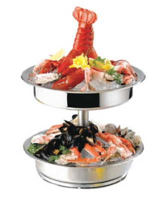 "Bon Chef 61281 17"" Diameter Seafood Tower, Stainless Steel"