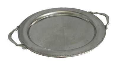 "Bon Chef 61334 13"" Round Tray w/ Handle & Etching,  Border, Stainless"