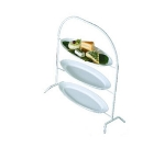 Bon Chef 7007S WH 3-Tier Display Stand, Fits 2051, Aluminum/White