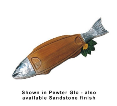 "Bon Chef 9004S WH 36"" Wood Body Salmon Dish, Aluminum/White"