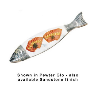 "Bon Chef 9004MS WH 36"" Marble Body Salmon Dish, Aluminum/White"