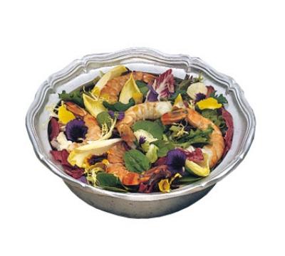 Bon Chef 9062P 2-qt Salad Pedestal Bowl, Queen Anne, Aluminum/Pewter-Glo