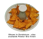 "Bon Chef 9081P 9.5"" Round Nacho Serving Tray w/  Pedestal, Aluminum/Pewter-Glo"
