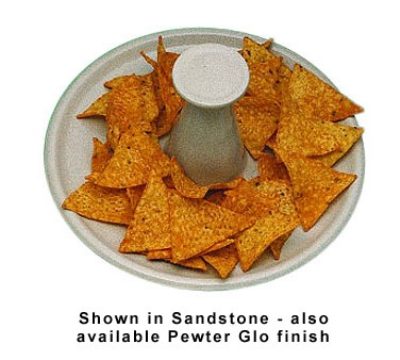 """Bon Chef 9081S WH 9.5"""" Round Nacho Serving Tray w/  Pedestal, Aluminum/White"""