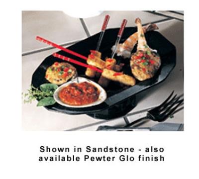 "Bon Chef 90999106P Prism Pedestal Tray, 14.25 x 9-7/8"", Aluminum/Pewter-Glo"