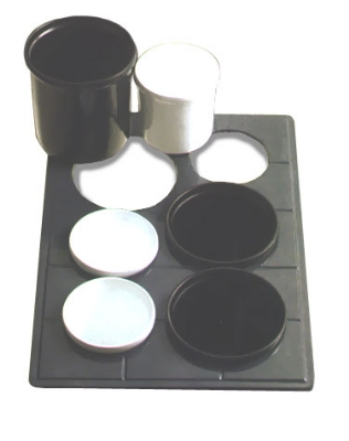 Bon Chef 960692032S BLK Custom Cut Tile Tray for (3) 9203 & (3) 9202, Aluminum/Black