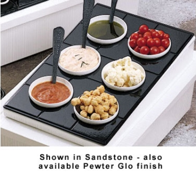 Bon Chef 960069202S WH Custom Cut Tile Tray for (6) 9202, Aluminum/White