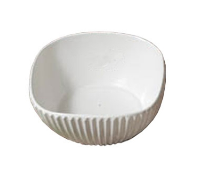 "Bon Chef 9912S WH 8"" Square Ribbed Bowl, Aluminum/White"