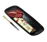 """Bon Chef 9917S BLK Ribbed Platter, 7 x 18 x 0.5"""", Aluminum/Black"""