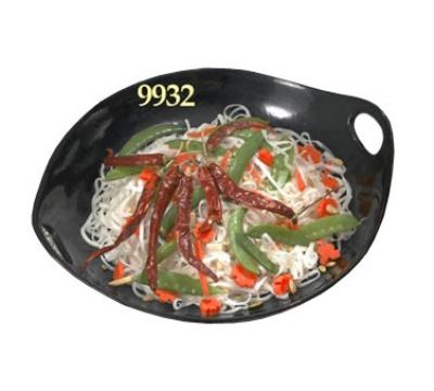 """Bon Chef 9932S BLK 13.75"""" Chopstick Plate, Aluminum/Black"""