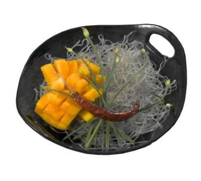 """Bon Chef 9933S BLK 10.25"""" Chopstick Plate, Aluminum/Black"""