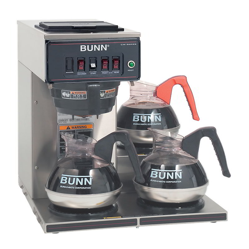 BUNN-O-Matic 12950.0112 CWT15-3 Automatic Coffee Brewer, 3 Lower Warmers, Plastic Funnel, 120V