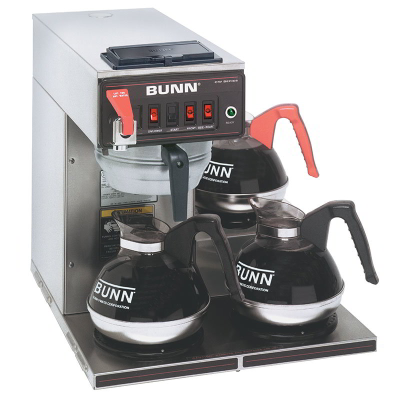Bunn CWTF15-3-0216 CWTF15-3 Automatic Coffee Brewer, 3 Lower Warmers, Stainless Funnel, 120v ...
