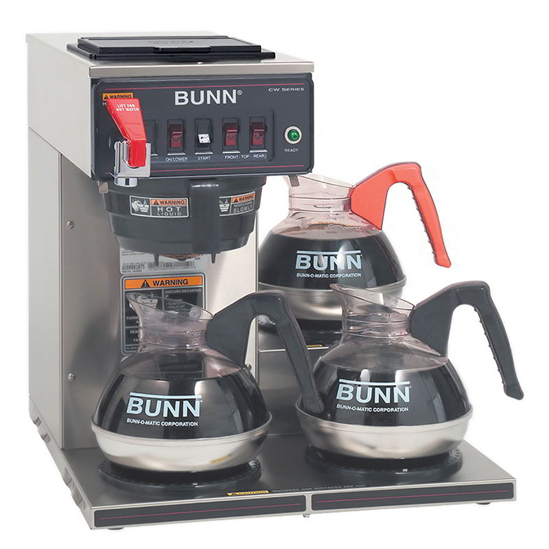 Bunn CWTF35-3-0252 Coffee Brewer, 3 Lower Warmers & Faucet, Plastic Funnel, 120/208-240v/1ph (12950.0252)