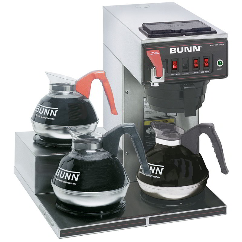 Bunn CWTF15-3-0298 Coffee Brewer, 3-Lower Warmers & Faucet, Plastic Funnel, 120 V (12950.0298)