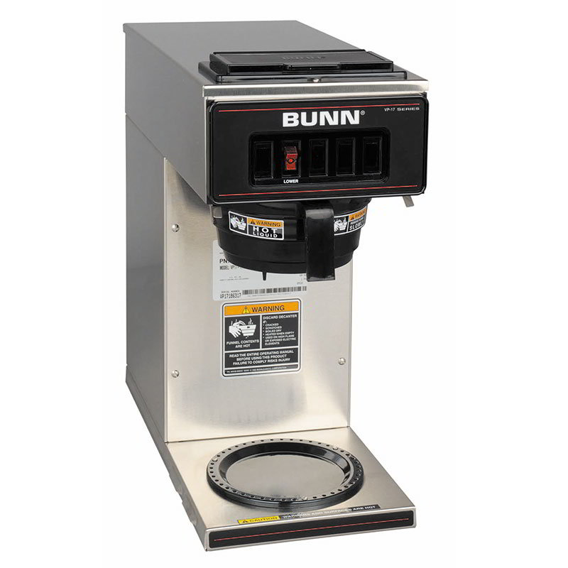 BUNN-O-Matic 13300.0001 Pourover Coffee Maker - 3.8-gal/hr, 1-Lower Warmer, Plastic Funnel, Stainless
