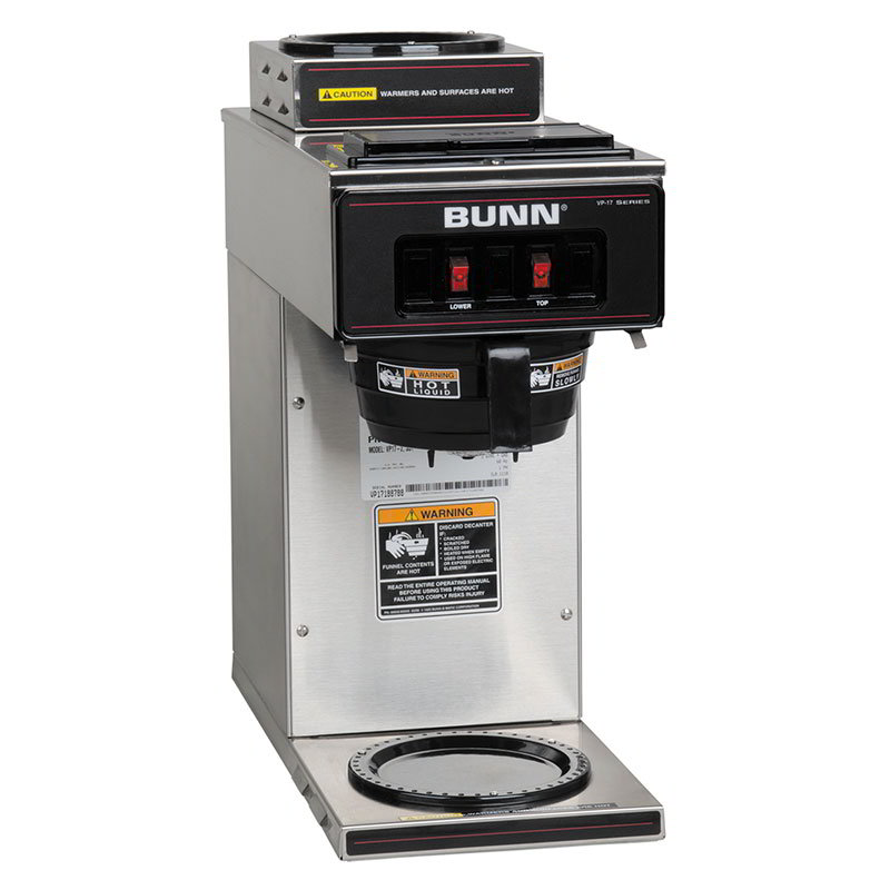 Bunn 13300.0002 VP17-2 SS Pourover Coffee Brewer, 1 Upper/1 Lower Warmers
