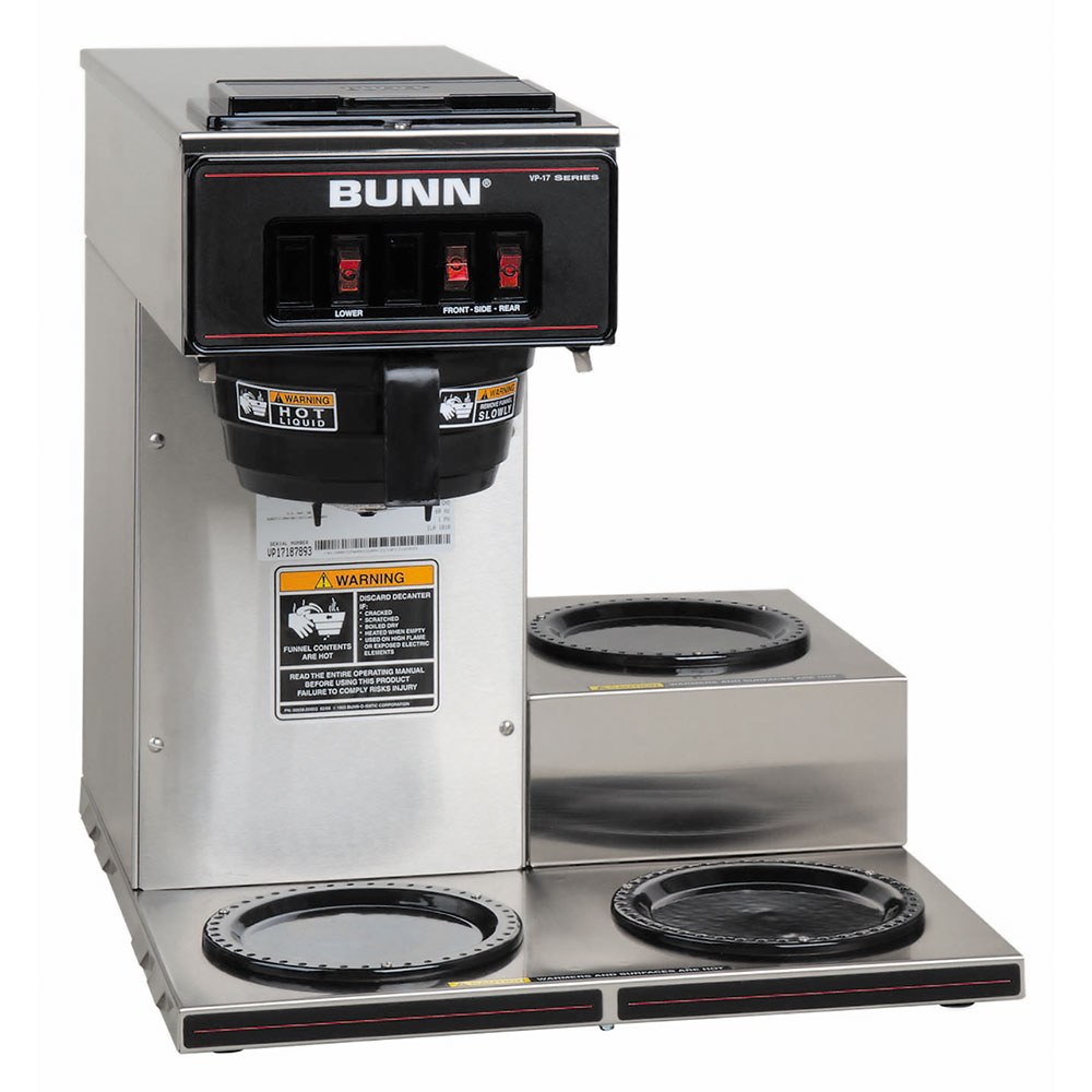 Bunn 13300.0003 VP17-3 SS Pourover Coffee Brewer, 3 Lower Warmers