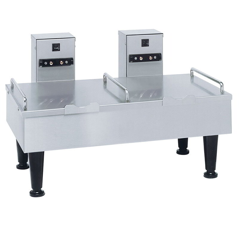 "Bunn SH-STAND-2-0000 2SH Stand for 2 Satellite Coffee Servers, Stainless Finish, 4"" Legs, 120V (27875.0000)"