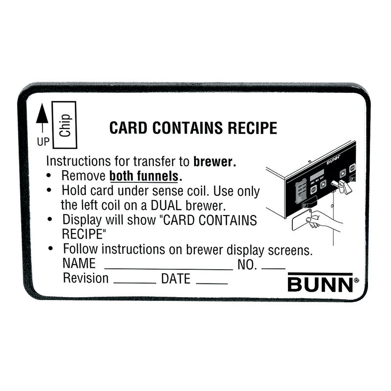 Bunn-o-matic 34447.0000 BrewWISE Recipe Writer Recipe Card