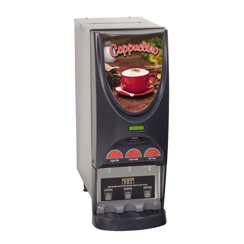 Bunn 36900.0001 Hot Drink Dispenser, 3-Hoppers, Cappuccino Display, Stainless
