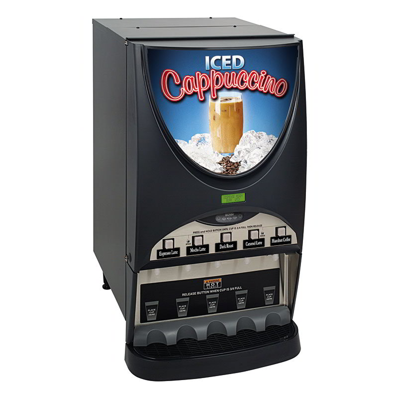 Bunn IMIX-5S-0010 Dispenser w/ (5) 8-lb Hoppers & 4.5-gal in 1-hr, Coffee Display, Silver Finish (38100.0010)