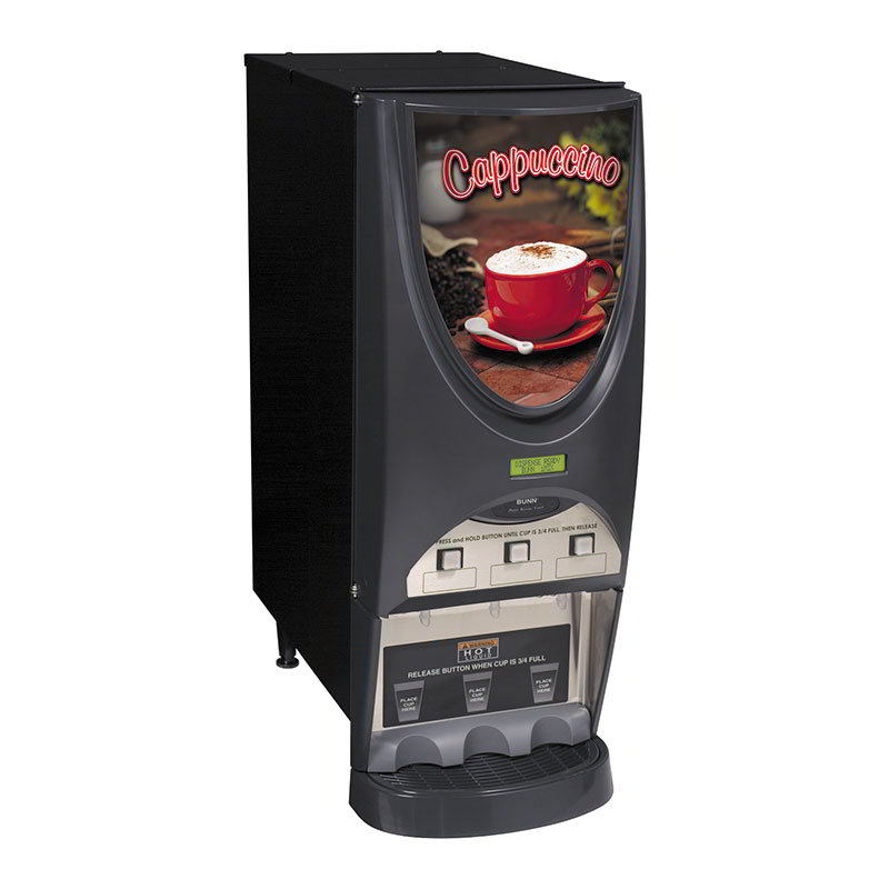 Bunn-o-matic 38600.0001 iMIX-3S Plus Hot Drink Dispenser, Cappuccino Display, 3 Hoppers, Black