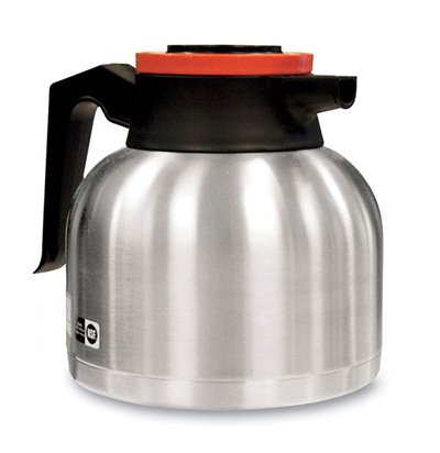 Bunn-o-matic 40163.0101 64-oz Thermal Carafe w/ Brew Thru & Vacuum Insulation, Orange Lid, All Stainless