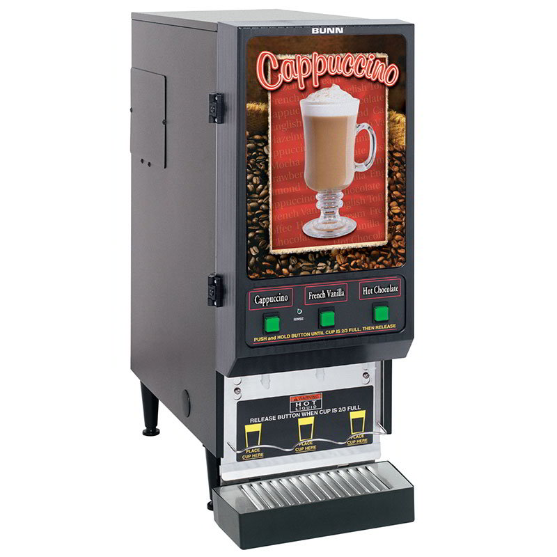 Bunn FMD-3-0197 FMD-3 BLK Hot Powdered Drink Machine, 3 Hoppers, Cafe Display, Blk (SET00.0197)