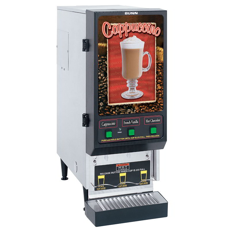 Bunn SET00.0198 FMD-3 S/S Hot Powdered Drink Machine, 3 Hoppers, Cafe Display, S/S