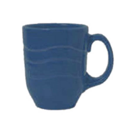 Syracuse China 903032004 10-oz Mug w/ Cantina Carved Pattern & Shape, Flint Body, Blueberry
