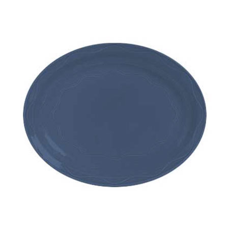 Syracuse China 903032008 Oval Platter, Cantina Carved Pattern & Shape, Flint, 11.62x9.5-in, Blueberry