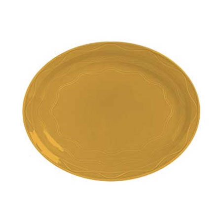 Syracuse China 903033001 Oval Platter, Cantina Carved Pattern & Shape, Flint, 13.62x10.62-in, Saffron