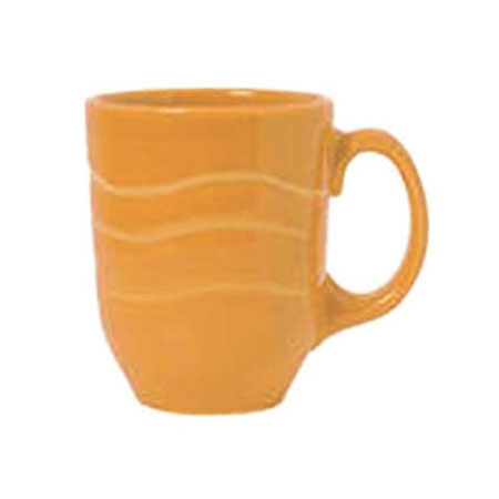 Syracuse China 903033004 10-oz Mug w/ Cantina Carved Pattern & Shape, Flint Body, Saffron