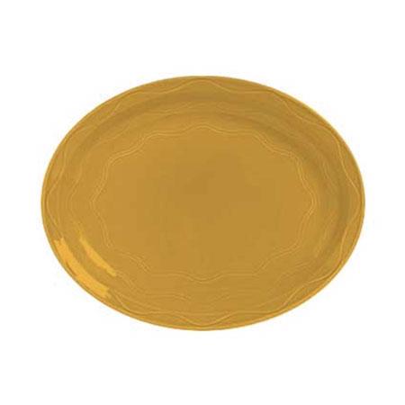 "Syracuse China 903033615 Platter, Cantina Carved Pattern & Shape, Flint, 9.62"", Saffron"