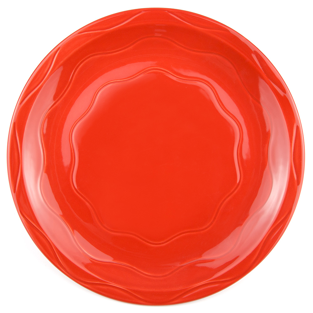 "Syracuse China 903034002 Plate w/ Cantina Carved Pattern & Shape, Flint Body, 11.38"", Cayenne"