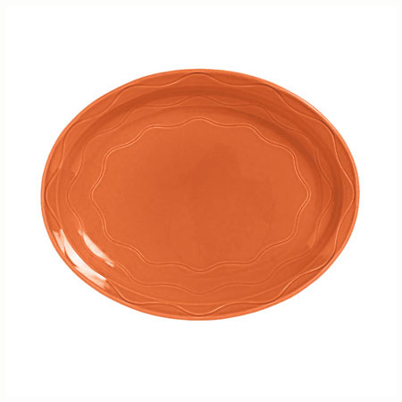 "Syracuse China 903034008 Oval Platter, Cantina Carved Pattern & Shape, Flint, 11.62x9.5"", Cayenne"