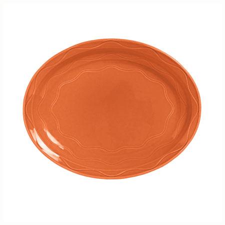 "Syracuse China 903034615 Platter, Cantina Carved Pattern & Shape, Flint, 9.62"", Cayenne"