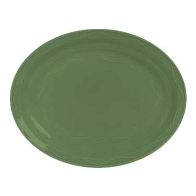 "Syracuse China 903035615 Platter, Cantina Carved Pattern & Shape, Flint, 9.62"", Sage"