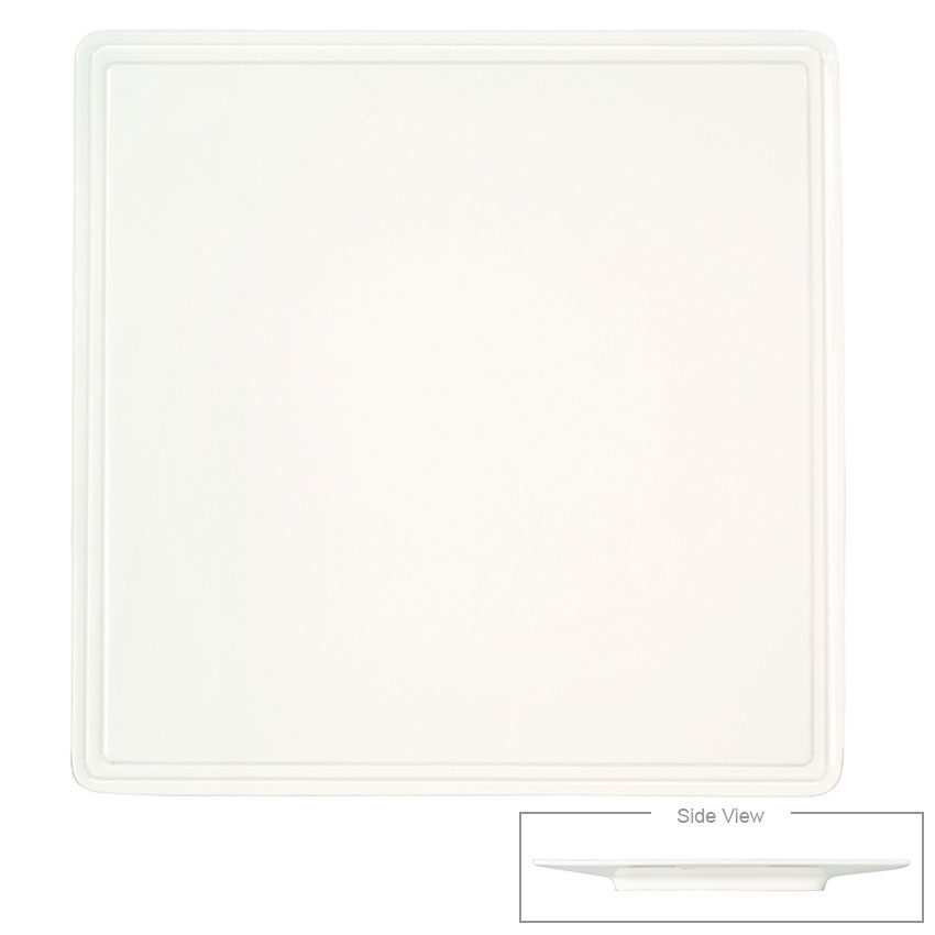 "Syracuse China 905356002 8"" Flat Square Plate w/ Rolled Edge & Slenda Shape"