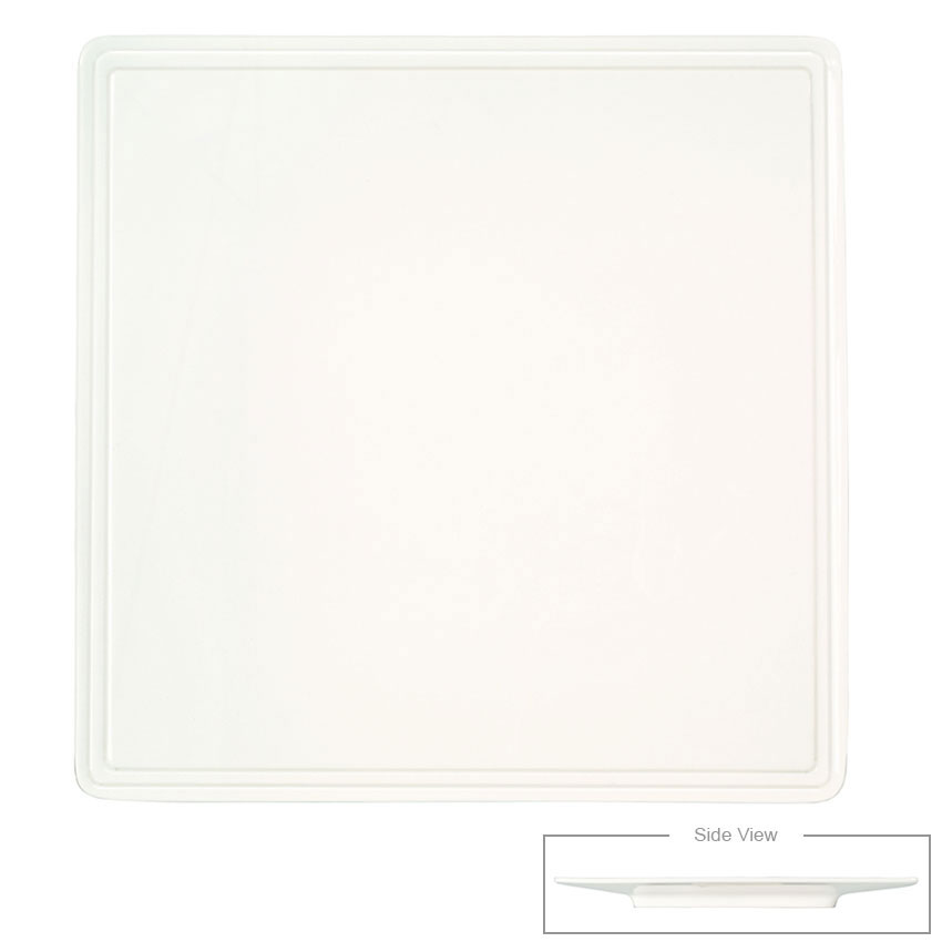 Syracuse China 905356005 11-in Flat Square Plate w/ Rolled Edge & Slenda Shape