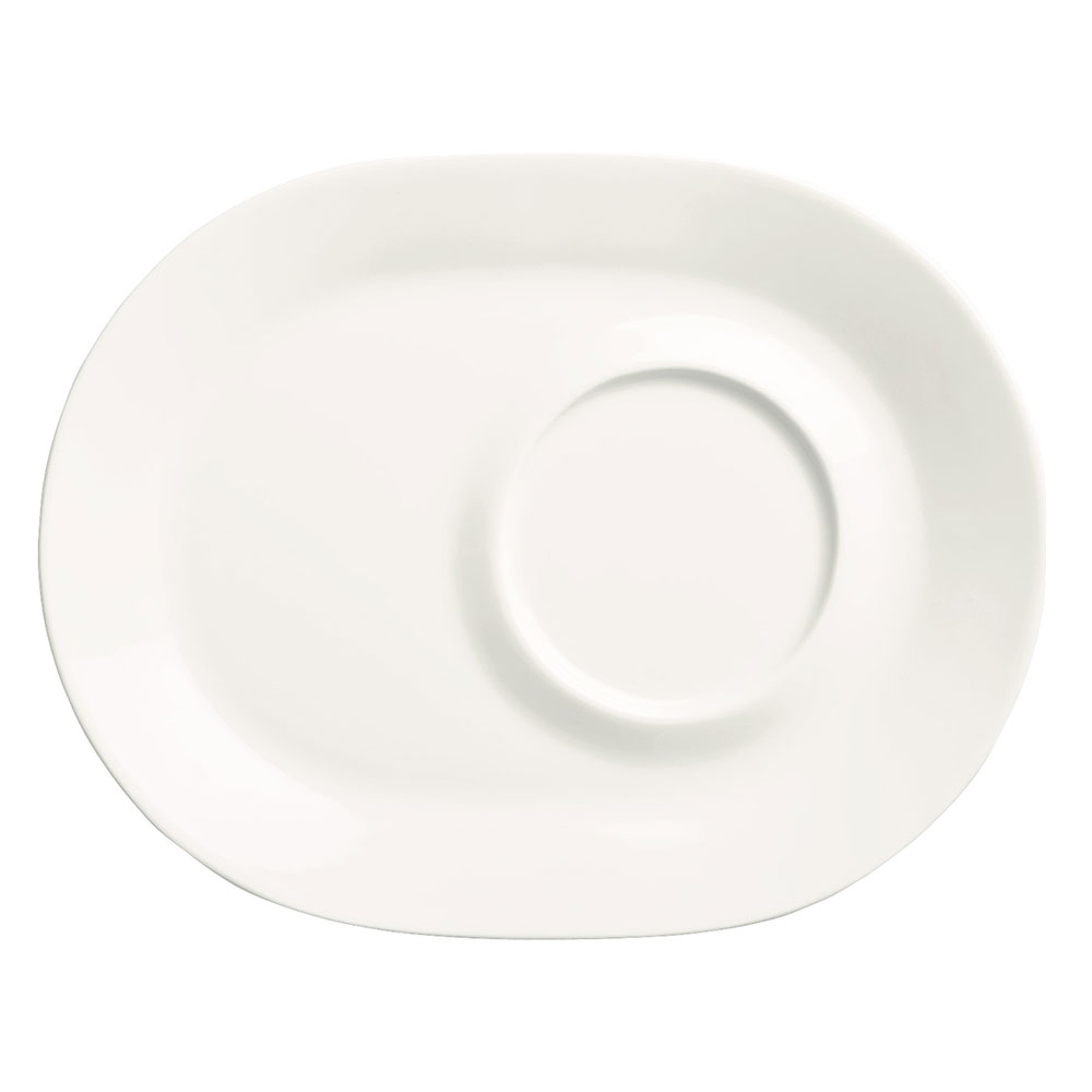 "Syracuse China 905356013 9-1/2"" Royal Rideau Racetrack Plate - Rolled Edge, White"