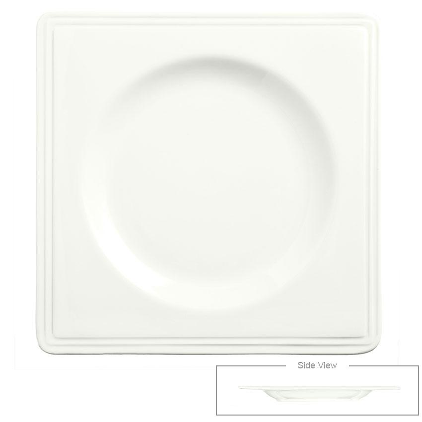 "Syracuse China 905356016 8"" Royal Rideau Valla Plate - Square, Slenda, White"