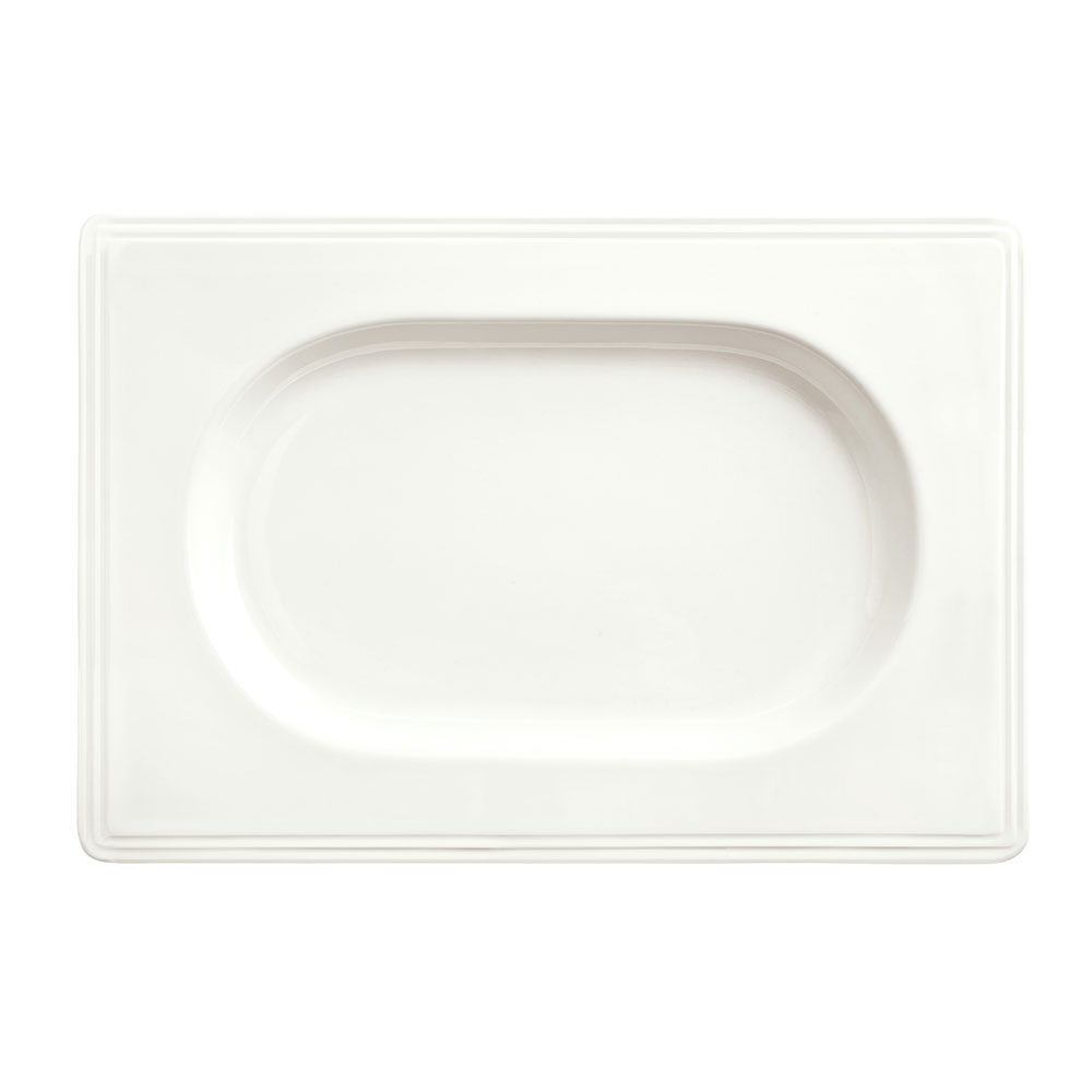 "Syracuse China 905356018 9"" Royal Rideau Valla Tray - Rectangular, Glazed, White"