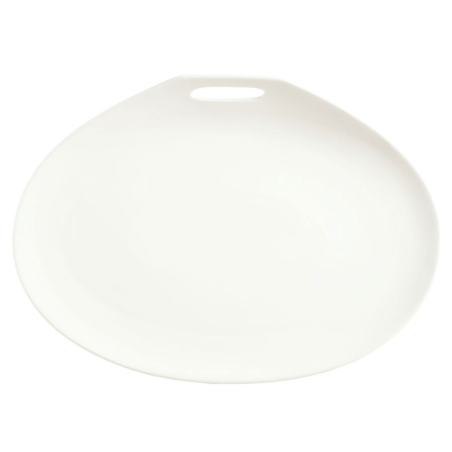 "Syracuse China 905356115 Plate w/ Handle Cutout, Slenda Practica, 10x7.25"", White"