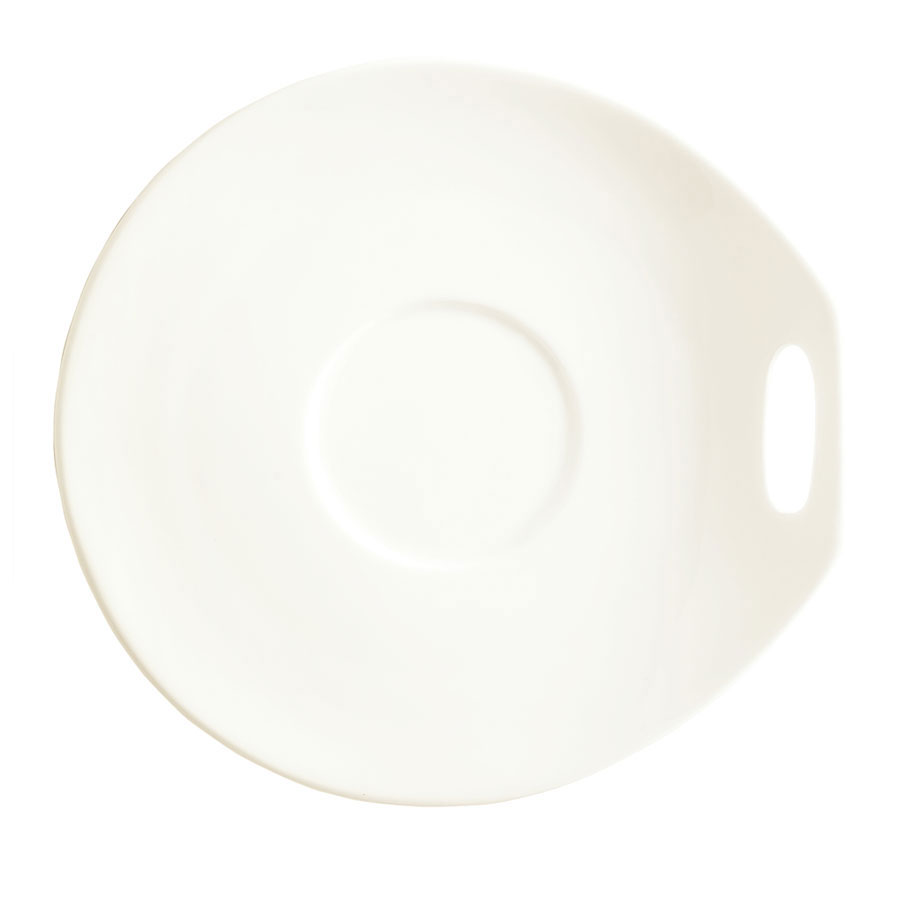 "Syracuse China 905356120 Saucer w/ Handle Cutout, Slenda Practica, 4.75x4.5"", White"