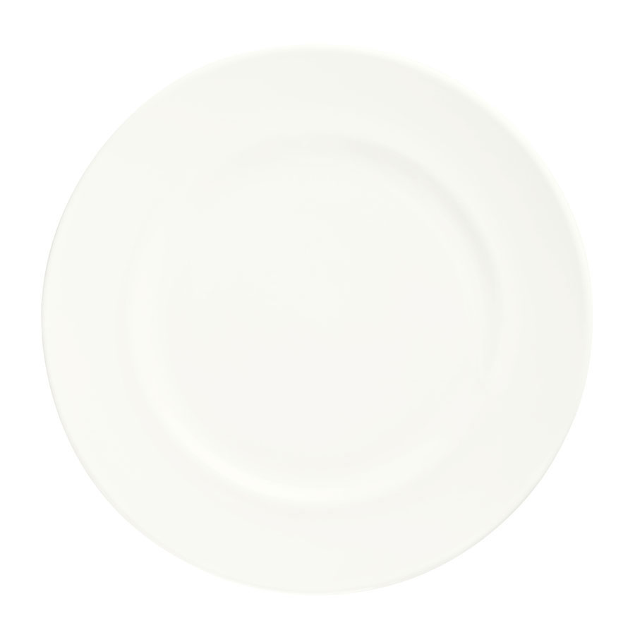 "Syracuse China 905356309 10"" Slenda Round Footed Plate - Royal Rideau, White"