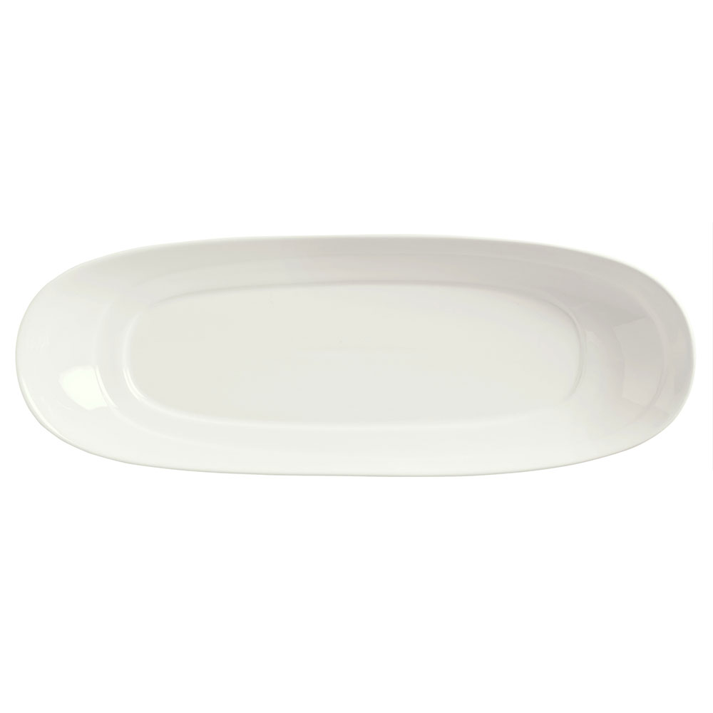 "Syracuse China 905356401 Slenda Oval Long Plate - 12x4-1/2"" Royal Rideau"