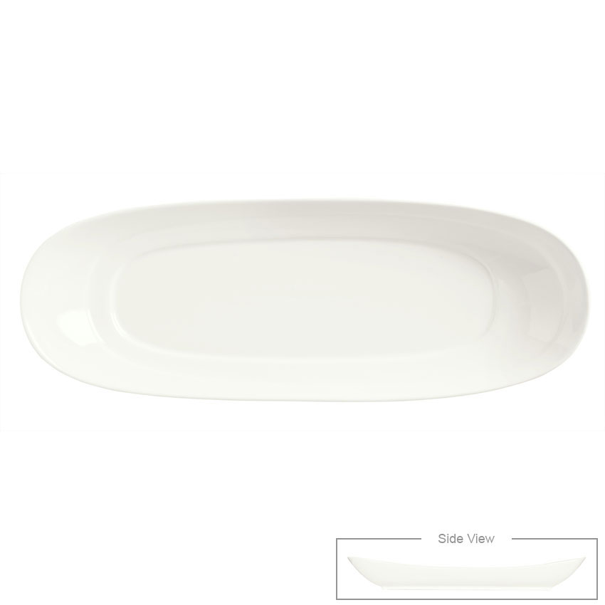 "Syracuse China 905356403 Slenda Oval Long Plate - 16-3/8x6"" Royal Rideau"